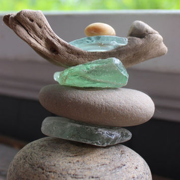 Stone , Driftwood and Sea Glass Sculpture , Unique Artisan Crafted Nautical and Beach house Decor