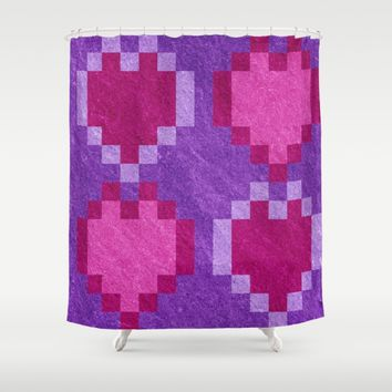 Pink Purple PIxel Hearts Shower Curtain by Likelikes | Society6
