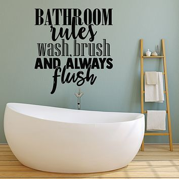 Vinyl Wall Decal Quote Shower Bathroom Rules  Wash Brush Flush Stickers Mural (g2556)