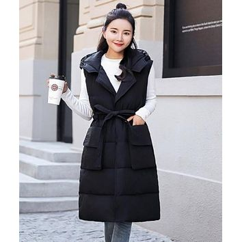 Womens Hooded Long Puffy Winter Vest Coat in Black