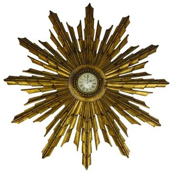 Pre-owned 1900s French Carved Wood Sunburst Clock