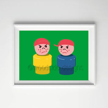Retro Toy Print, INSTANT DOWNLOAD, Kids Room Art, Nursery Art, Boys Room, Evil Twins, Children's Wall Art, Baby Boy Gift, Play Figures Print