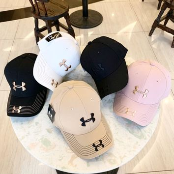 """Under Armour"" Unisex Sports Simple Logo Embroidery Baseball Cap Couple Peaked Cap Sun Hat"
