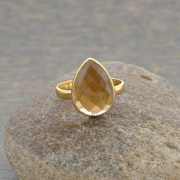 Champagne Quartz Beautiful Pear 10x14mm Micron Gold Plated 925 Sterling Silver Gemstone Ring - #1086