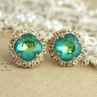 Emerald peridot green Rhinestone Crystal stud Petite vintage earring - 14k 1 micron Thick plated gold post earrings real swarovski.