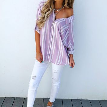Outside The Box Blouse: Lavender/White