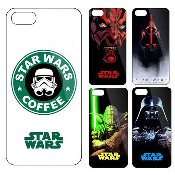 Funny Starbuck Starwars coffee design Drawing phone case for iphone 5 5s 6 6s cases Starwars funda capa