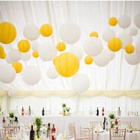 24 Mixed White Yellow Paper Lanterns for Wedding Engagement Baby Shower Birthday Party Nursery Decoration
