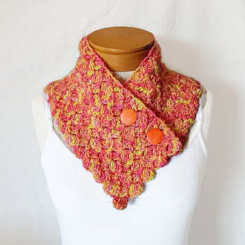 Pink and yellow scarf Button neck warmer cowl  Orange  Vintage buttons Scarflette for women teen crochet