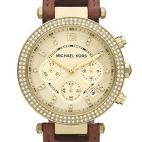 Women's Michael Kors 'Parker' Chronograph Leather Watch, 39mm