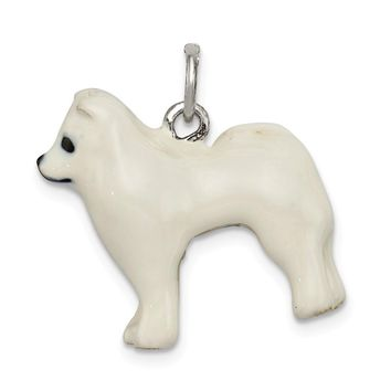 925 Sterling Silver Enameled Samoyed Charm and Pendant