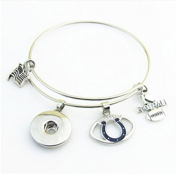 Hot sell Sports Indianapolis Colts Extendable Bracelets I Love Football Snap Button Bracelet Fit Women Men Jewelry 10pcs/lot