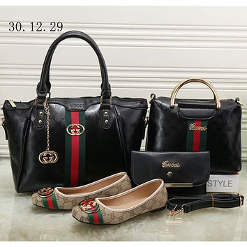 GUCCI 2018 trendy and high quality women's exquisite four-piece fashion F-KSPJ-BBDL Pure black