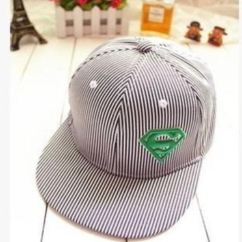 PEAPIX3 Superman, stripes, flat hat, flat baseball cap, hip-hop cap, street dance hat, male, ms sun hats in summer = 1945969156