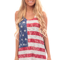 Horizontal Stars and Stripes Knit Loose Tank