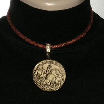 Neptune Roman God of The Sea Bronze Finish Medallion Pendant on 6mm Antique Tan Braided Leather Cord Necklace with Gift Box