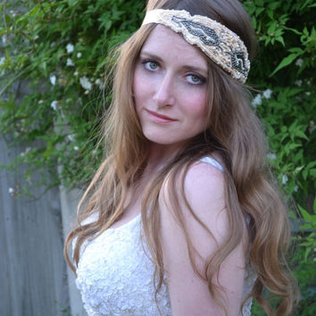 1920s flapper, Great Gatsby Headpiece, Downton Abbey, Beaded Art Deco, headband champagne gold gunmetal headdress vintage