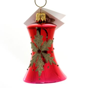 Golden Bell Collection Merlot Bell With Snowflakes Glass Ornament