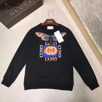 """Gucci"" Women Casual Fashion Sequins Embroidery Butterfly Letter Pattern Print Long Sleeve Sweater Tops"