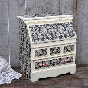 Shabby Chic Jewelry Box, Ivory, Black, Red, Damask, Decoupage, Hand Painted, Upcycled, Drop Front