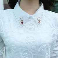 Turn Down Collar Long Sleeve Blouses Shirts Lace Women Blouse