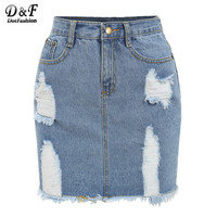 Dotfashion Frayed Denim Pencil Skirts For Women 2016 New Summer Style Bodycon Dual Pockets Button Fly Mini Skirt