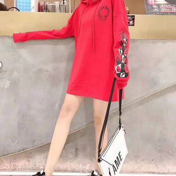 """""""Chrome Hearts"""" Woman Leisure Fashion Reflective Personality Printing Hooded Long Sleeve Tops T-Shirt Skirt"""