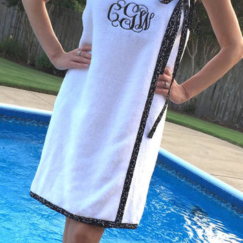 SPA WRAP/ Bath Wrap/ Towel Wrap/ Bridesmaid Gift with trim and ribbon/bow- black and white- Choose Your Own Colors!- Size XS-L