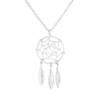 """Sterling Silver Dream Catcher Charm Necklace, 17"""""""