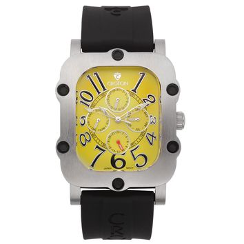 Croton Mens Stainless steel Silvertone Silicon Strap Watch