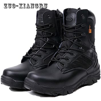 Winter Snow Genuine Leather Men's Desert Military Tactical Boots Men Outdoor Combat Army Boots Botas Militares Sapatos Masculino