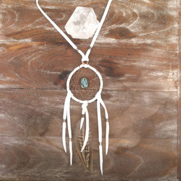 CIJ SALE lightwalker. white  and tuquoise dream catcher necklace // spirit tribe, boho, dreamcatcher, free shipping