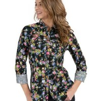 Tin Haul Women's Black with Multicolor Floral Print Long Sleeve Western Shirt