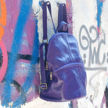 Leather Backpack, Purple Leather Backpack, Leather Rucksack, Lambskin Backpack, School Backpack, Soft Leather Bag, Traveller Bag, Causal