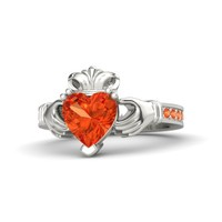 Heart Fire Opal Platinum Ring with Fire Opal