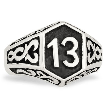 Sterling Silver Luck number 13 1%er Outlaw Biker Ring With Celtic Design