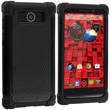 Black / Black Hybrid Rugged Armor Protector Hard Case Cover for Motorola Droid Mini XT1030