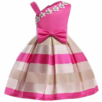 Christmas Flower Dress Girl Princess Costume Dresses Girl Party Stripe Tulle Kids Children Prom Gown Vestido Formal Dress Bow