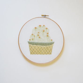 Cactus in Geometric Pot  -  Embroidery Hoop Art  -  2 Sizes available!