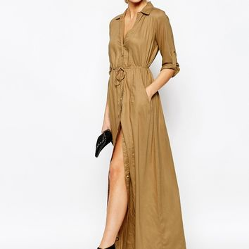 Boohoo Deborah Utility Belted Maxi Dress at asos.com
