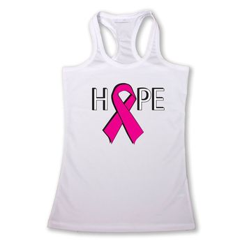 Women's Hope Breast Cancer Awareness Racerback TANK TOP WHITE