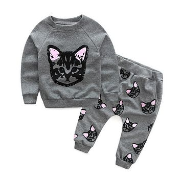 Baby Kids Set Clothes Long Sleeve Cats Print Tracksuit +Pants Outfits Set