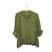 25% off SALE Vintage olive green shirt Men's button up henley Fabindia Rayon Silk India Hippie Bohemain Pullover Caftan Shirt Mens Large 40