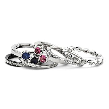Sterling Silver Stackable Multi-Gemstone & Diamond Ring Set
