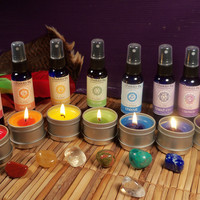 CHAKRA BALANCING SET - Balance Your 7 Chakras with Chakra Sprays, Candles & Stones Gift Set