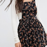 Boohoo Ditsy Floral Cord Pinafore Dress