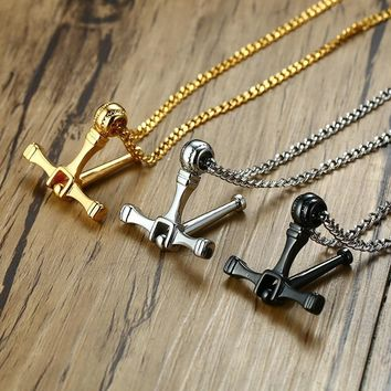 Design Rotatable Cross Pendant Necklace Men Stainless Steel 24 28 inch Long Chain