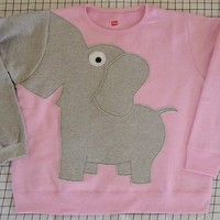 Elephant shirt Trunk sleeve sweatshirt sweater jumper UNISEX Pale Pink Large
