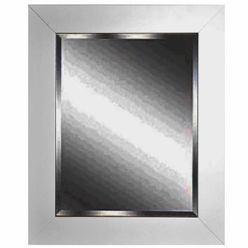"Rayne Mirrors Home Decorative White Satin Wide Rectangle Framed Wall Mirror 29.5""""x 35.5"""""