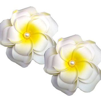Geoot Life-Like 3 layer Foam White Flowers Hair Barrette (2 flower)